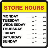 STORE HOURS SIGN - includes hours digits