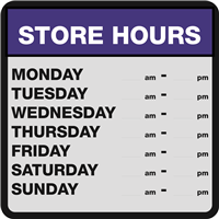 CUSTOM STORE HOURS SIGN - includes hours digits  (min 50 pcs)