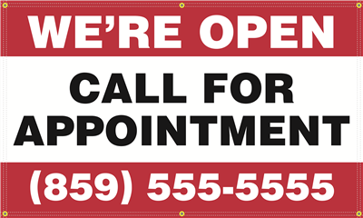 Exterior Banner (5'x3') - Call For Appointment
